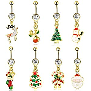 JDXN 8PCS Stainless Steel Christmas Series Belly Buttons Christmas Tree Gifts for Women Girls Jewelry (8pcs /Set)