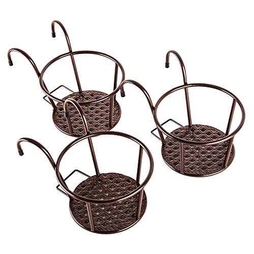 Iron Art Hanging Baskets Plant Holder - HowRU Outdoor Flower Stand Rail Metal Fence Balcony Plant Stand - Pack of 3 ()