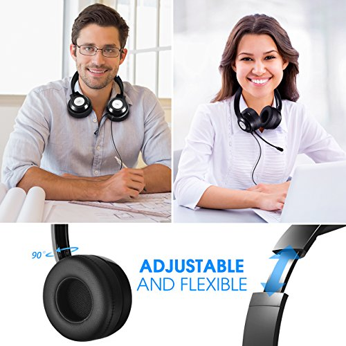 Vtin Headset with Microphone, USB Headset/3.5mm Computer Headphone Headset Noise Cancelling and Hands-Free with Mic, Stereo On-Ear Wired Business Headset for Skype, Call Center, PC, Phone, Mac by Vtin (Image #6)'