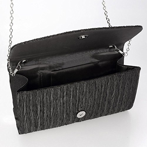 De De Bolsa Del De Mujer De Embrague Ishine Hombro La Satén Brillo Bolso Tarde Negro Embrague Plisada Mini Awd8qSx8n