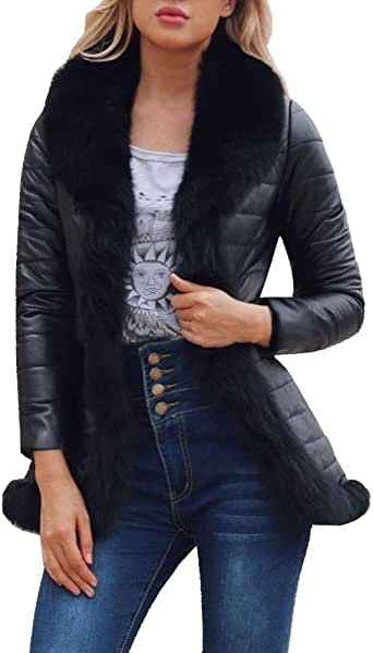 POLP Abrigos mujer Abrigos de Invierno para Mujer Invierno Abrigo Casual Chaqueta de Lana Capa Abrigo Corto Fleece Warmer Abajo Chaqueta emulational Abrigo de Piel Abrigo de Pelo para Mujer