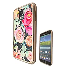 c00737 - Oil Painting Style Of Shabby Chic Roses Design Samsung Galaxy S5 / S5 Neo Fashion Trend CASE Gold & Clear Gel Rubber Silicone All Edges Protection Case Cover