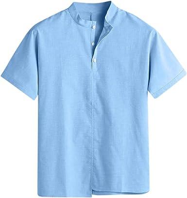 YGbuy-Camisa De Manga Corta De Algodón De Color Liso Camisa Slim Fit De Manga Corta - Camisas con Botones Hombre: Amazon.es: Ropa y accesorios