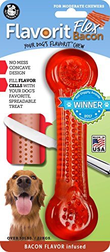 Pet Qwerks Flavorit -Bacon Flavored Flex Bone for Moderate Chewers (Made in The USA)