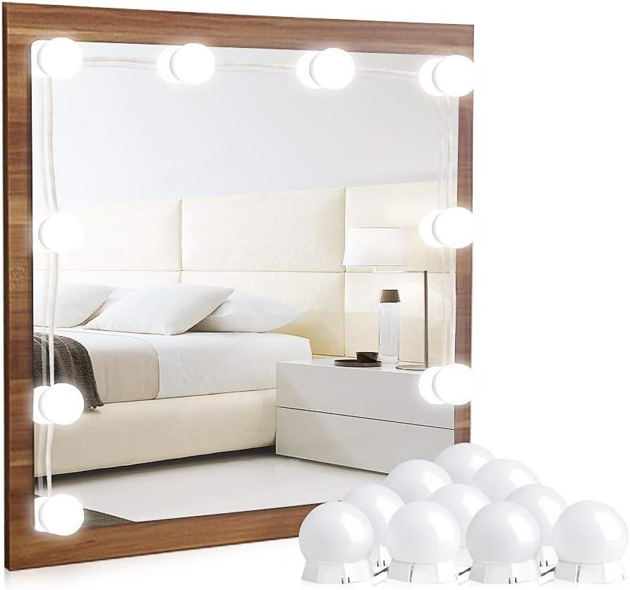 interruptor de atenuador de luz LED y 3 cambios de color estilo Hollywood Kit de luces de espejo de maquillaje de vanidad con 10 bombillas funciona con USB regulable