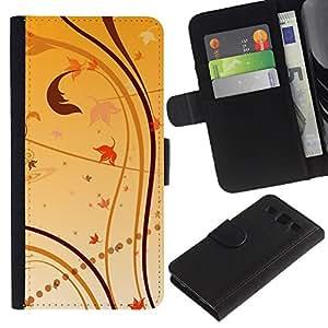 """SAMSUNG Galaxy S3 III / i9300 / i747 , la tarjeta de Crédito Slots PU Funda de cuero Monedero caso cubierta de piel ("""" Wallpaper Nature Leaves Autumn Yellow"""")"""