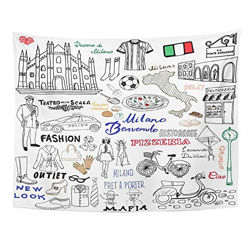 Emvency Tapestry Polyester Fabric Print Home Decor Italy Milan Sketch Duomo Cathedral Flag Map Shoe Pizza Shopping Street Wall Hanging Tapestry for Living Room Bedroom Dorm 60x80 Inches ()