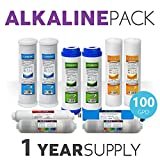 Express Water 1-Year Alkaline Replacement Filter Cartridges for RO System Set of 10 Filters with Membrane (100 GPD)