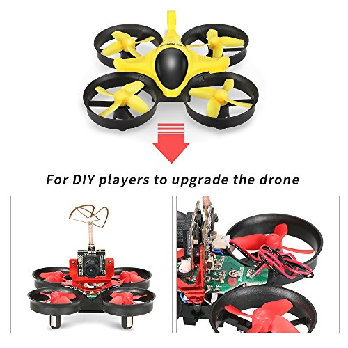 51cSY7gyu3L GoolRC T36 Mini RC Quadcopter Drone 2.4G 4 Channel 6 Axis With 3D Flip Headless Mode One Key Return Nano Copters RTF Mode 2 With Bonus Battery(Yellow)