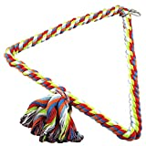 Parrot Toy Cotton Rope Bird Swing Perch Balancing Hanging Standing Pet Toy for Parrot Budgie Parakeet Cockatiel Conure S