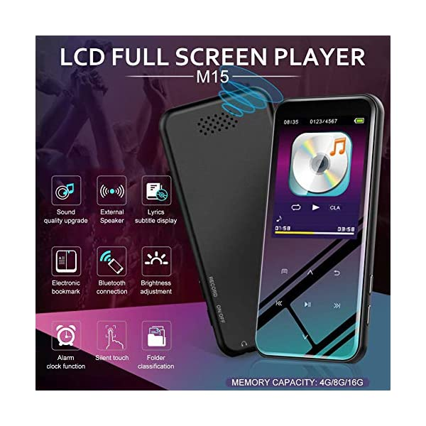 Bluetooth MP3 Player Touch Screen MP4 Voice-Activated Recording Video Player HiFi Non-Destructive Noise Reduction Quality, Black 4