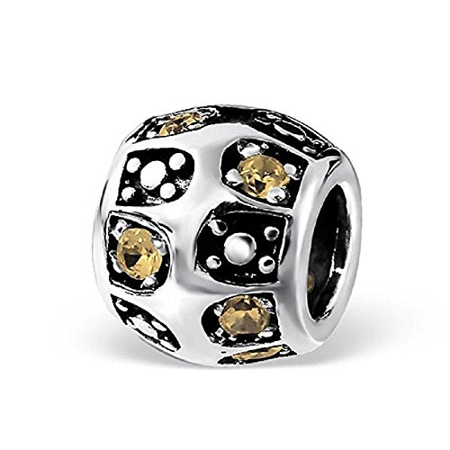 Pro Jewelry 925 Solid Sterling Silver Barrel with Champagne Cubic Zirconia Charm Bead