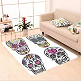 Nalahome Custom carpet s Colorful Ornate Mexican Sugar Skull Set with Flower and Heart Pattern Calavera Humor Art Multi area rugs for Living Dining Room Bedroom Hallway Office Carpet (2' X 10')