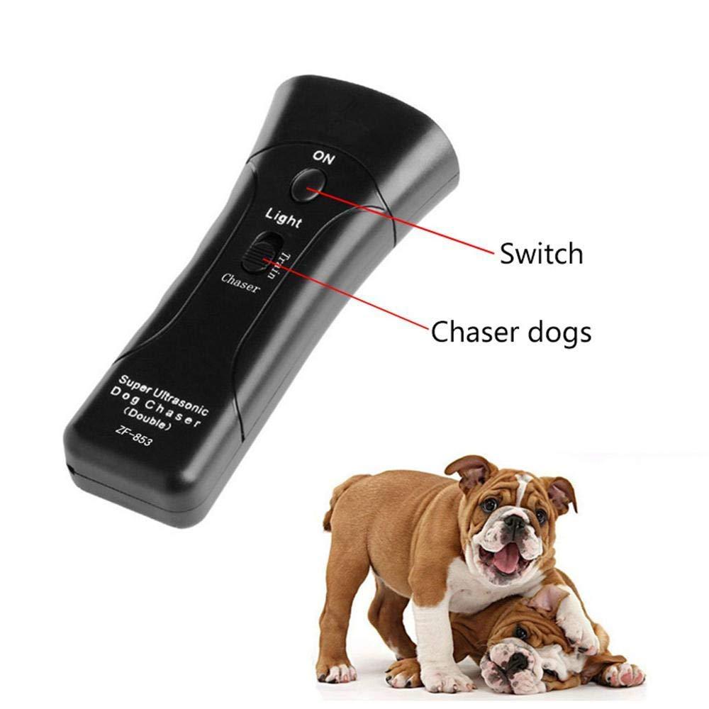 Super Moon Ahuyentador de Perros por Ultrasonido LED y Entrenador Dispositivo de Ladridos Anti Perro de Dos Canales Perro Repeller//Herramienta de Entrenamiento//Stop Barking con Linterna LED
