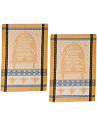 Bee Hive Cotton Jacquard Kitchen Towels Set Of 2