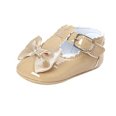 Amazon.com: Zapatillas para bebés y niñas, con lazo, suela ...