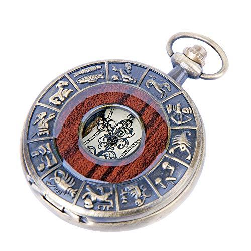 Skeleton Pocket Watch Chain Mechanical Hand Wind Vintage Zodiac Design Full Hunter Value Quality - PW15 (Zodiac Watch)