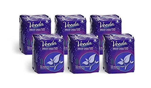Veeda Ultra Thin Super Absorbent Night Pads are Always Chlorine Pesticide Dye and Fragrance Free Natural Cotton Sanitary Napkins, 6 Packs of 12 Count Each