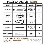 """Artpuch 5"""" Sun Shade Sail Hardware Kit, Shade Sails"""