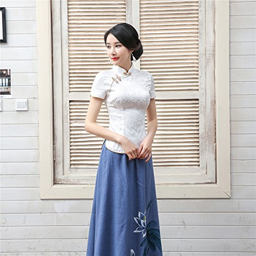 Shanghai Story Women Short Sleeve Chinese Blouse Cheongsam Top S White by Shanghai Story (Image #7)