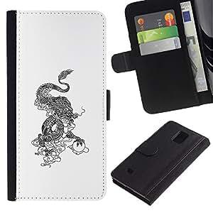ARTCO Cases - Samsung Galaxy Note 4 SM-N910 - Oriental Chinese Dragon Totem - Cuero PU Delgado caso Billetera cubierta Shell Armor Funda Case Cover Wallet Credit Card