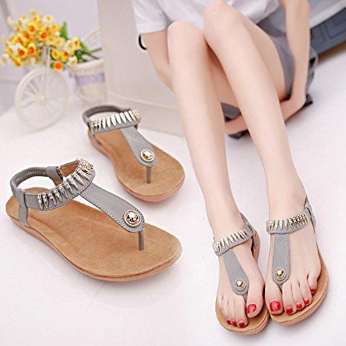 Voberry Sandalen, Frauen Flache Schuhe Bead Bohemia Freizeit Dame Sandalen Peep-Toe Outdoor-Schuhe Grau
