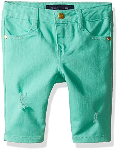Tommy Hilfiger Little Girls' Bermuda Length Distressed Denim Short, Cabbage,