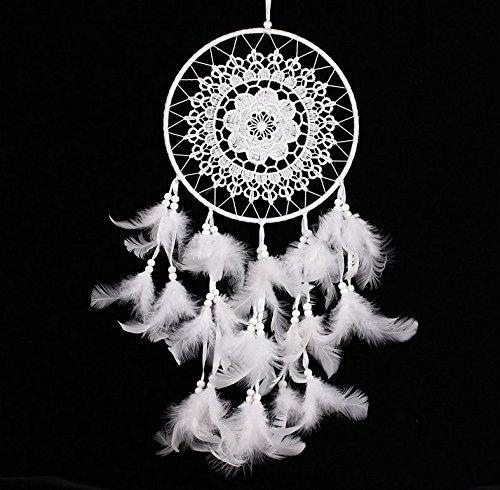 Primi blanco plumas Atrapasueños colgante manualidades correas para casa decoración del coche GMMH8481
