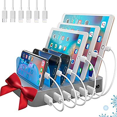 Hercules Tuff Charging Station for Multiple Devices - 6 Short Mixed Cables Included for iPhone, Ipad, Kindle, Samsung,