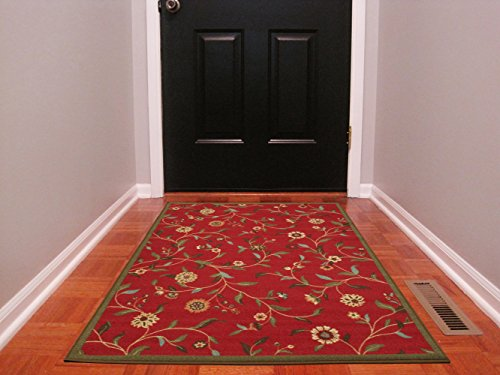 (Ottohome Collection Dark Red Floral Garden Design Modern Area Rug With Non-Skid (Non-Slip) Rubber Backing (3'3
