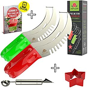 BEST WATERMELON SLICER (2-Pack) As Seen On Tv, Melon Tongs Corer Server & Cake Cutter, Thickest Cutting Wire, FREE Star Shape Cutter, 2in1 Melon Scoop/Baller, Fruit Carving Knife & Bonus Ebook