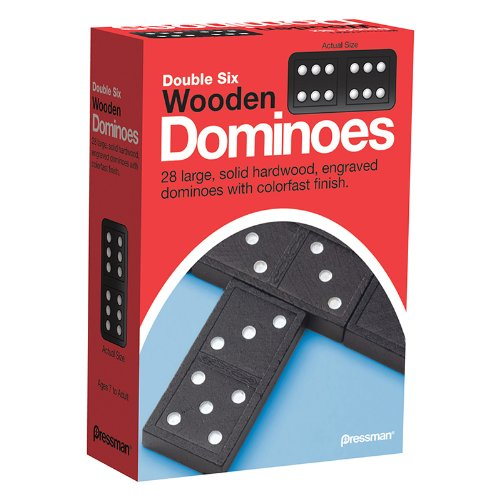 Pack Dominoes (Pressman Toy Double Six Wooden Dominoes, 28 Pieces)