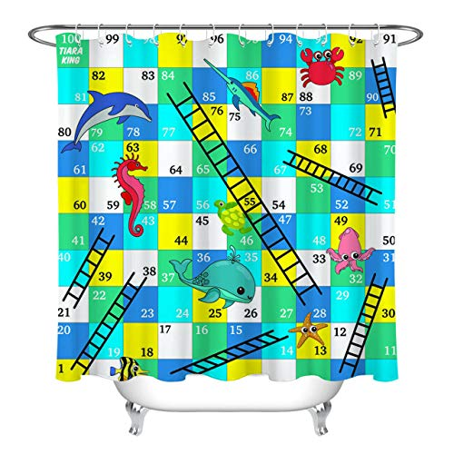 youyoutang Cartoon Marine Life Kids Number Game Ladder Waterproof Fabric Shower Curtain Set 3D High-Definition Printing Does Not Fade 12 Shower Hooks 70.8X70.8 Inch Home Decor Bathroom Accessories
