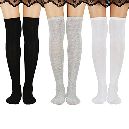 Zando Womens Casual Knee High Socks Thigh High Tube Stockings Sock 3 Pairs Black White Grey One Size by Zando (Image #1)