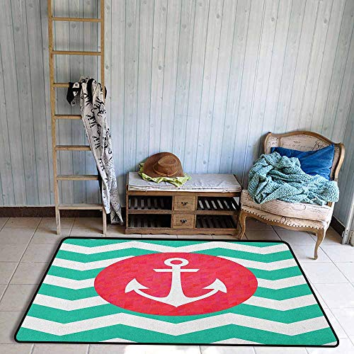 Kids Rug,Anchor Pattern of Anchors and Waves Stripes Classic Old Style Sailing Boat Swimming,Anti-Slip Doormat Footpad Machine Washable,3'11