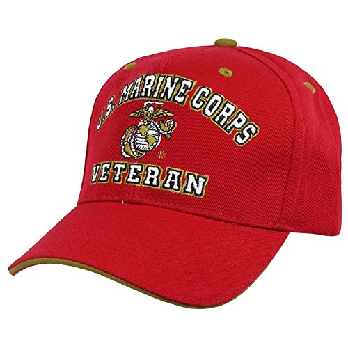 US Marine Corps Veteran Embroidered Baseball Cap Hat, Red by Rapid Dominance Veteran Embroidered Baseball Cap