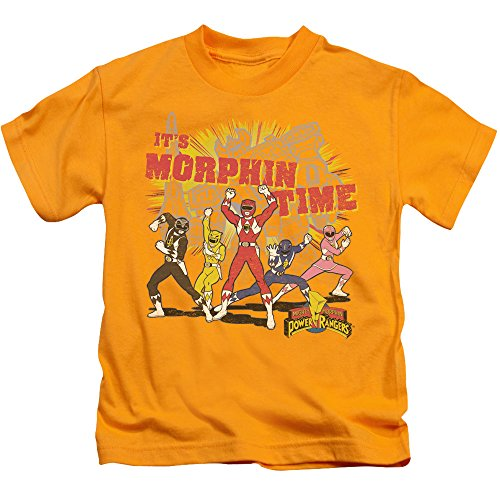 Power Rangers Morphin Time Unisex Youth Juvenile T-Shirt for Girls and Boys, Large (7) Gold