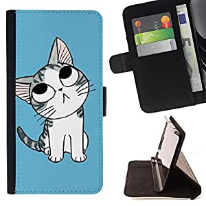 DEVIL CASE - FOR Samsung Galaxy S3 III I9300 - Cute Blue Cat Kitten - Style PU Leather Case Wallet Flip Stand Flap Closure Cover