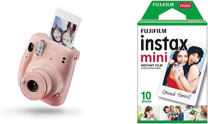 Instax Mini 11 - Cámara instantánea, Blush Pink + Fujifilm Instax Mini Brillo Película fotográfica instantánea (10 Hojas)