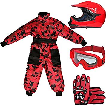 Leopard LEO-X15 Casco de Motocross para Niños + Gafas + Guantes + Traje de Motocross para Niños - Traje S (5-6 Años) + Casco&Guantes S - Rojo