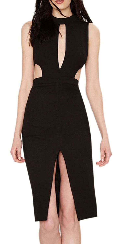 Bigood Occident Chic Hollow Split Black Casual Long Bodycon Skirt Dress
