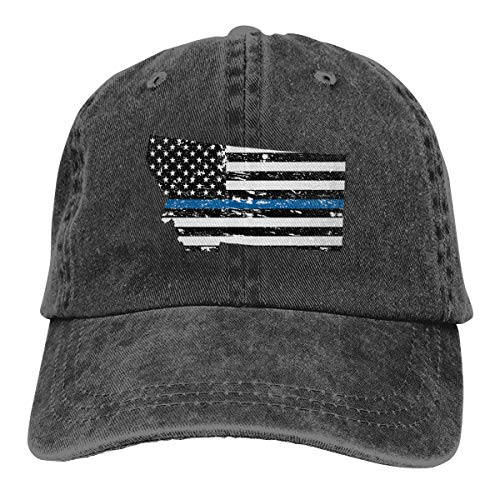 Eden Edies Montana State Map Shape Thin Blue Line Design Denim Fabric Baseball Hat Adjustable Jeans -
