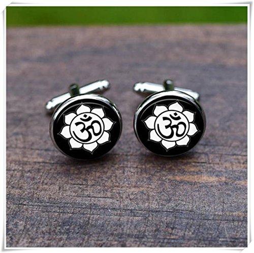 Beautiful Dandelion Om Lotus cufflinks, Flowers Yoga OM, Mens Sports (Lotus Cufflinks)