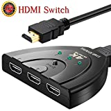 HDMI Switch 3 Port Auto Switcher Hub with Pigtail Cable Supports 4K,3D,1080P HD Audio for HD TV PS3 PS4 3 in 1 out