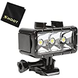 SHOOT Waterproof 30m Diving Light High Power Dimmable LED Underwater Fill Light for GoPro Hero 6/5/5S/4/4S/3+,Campark AKASO DBPOWER Crosstour SHOOT Camera with 1200mAh Built-in Rechargeable Battery