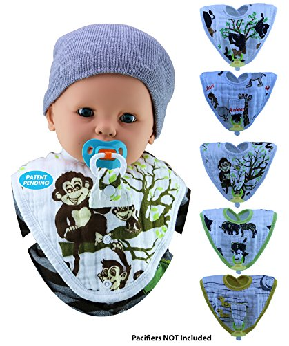 ChaBabee 2-in-1 Muslin Zury Oval Large Bibs  Cleverly Designed with a Pacifier/Teether Holder that is Practical, Safe, and Effective  Drooling and Teething  5 Pack Unisex for Boys and Girls