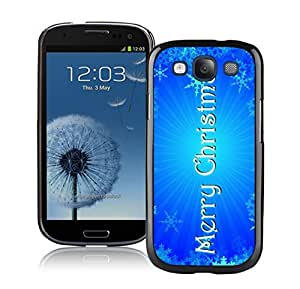 S3 Case,Bright Blue Merry Christmas Silicone Black Samsung Galaxy S3 Case,S3 I9300 Protective Case