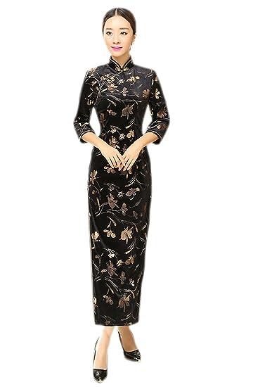 new light yellow chinese women/'s Evening Dress Ball long Cheongsam Qipao SZ 6-16