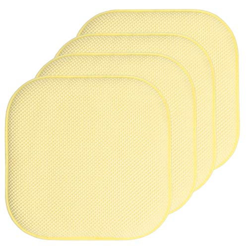 Sweet Home Collection Chair Cushion Memory Foam Pads Honeycomb Pattern Slip Non Skid Rubber Back Rounded Square 16