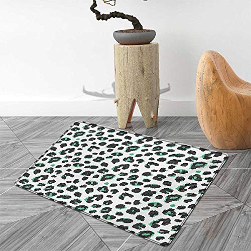 Abstract Door Mats for Home Bicolor Dots Pattern on a White Background Digital Art Composition Bath Mat Bathroom Mat with Non Slip 3'x4' Fern Green Black White